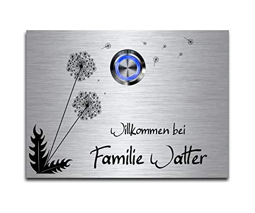 CHRISCK design - Edelstahl Türklingel mit Wunsch-Gravur Led-Beleuchtung und Motive 11x8 cm Klingel-Taster Namen Modell: Walter