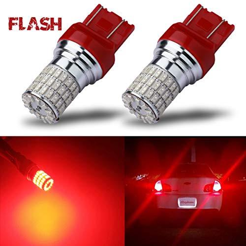 iBrightstar Newest 9-30V Flashing Strobe Blinking Brake Lights 7440 7443 T20 LED Bulbs replacement for Tail Brake Stop Lights, Brilliant Red