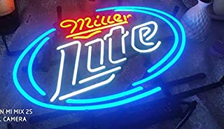 Blue ML FINEON Real Glass Neon Light Sign Home Beer Bar Pub Recreation Room Game Lights Windows Glass Wall Signs Party Bir...