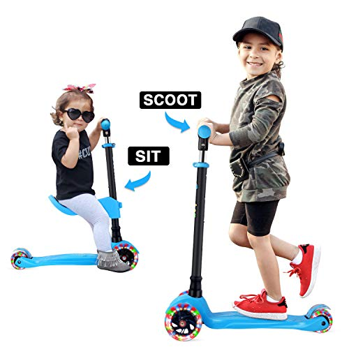 GOOGO Patinete de 3 Ruedas con Asiento Desmontable para Niños de 3 a 12 Años Scooter 3 Wheels con Luces LED, Barra Ajustable, Kick Scooter for Girl Boy(Azul)