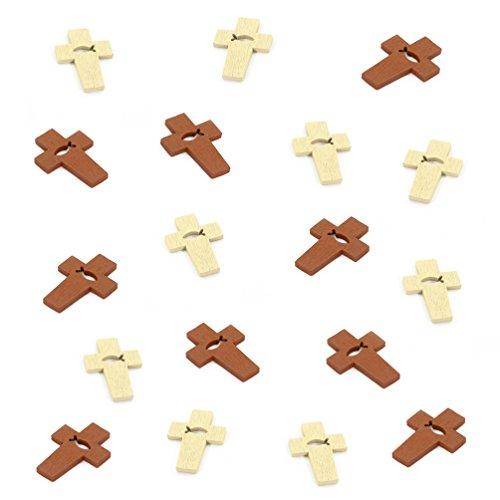 Oblique-Unique® Tischstreu Streuartikel Taufe - Holz Kreuze mit Fisch Symbol - Streudeko Verzierung für Taufe, Kommunion und Konfirmation - Echtholz