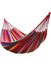 Festnight Portable Garden Canvas Hammock Canvas Bed Camping Hanging Porch Backyard Indoor Outdoor Swing Red