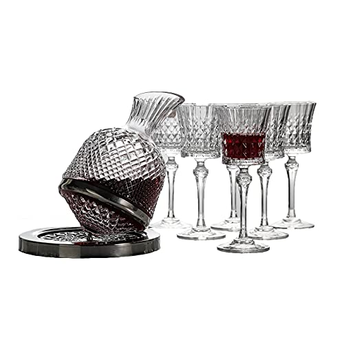 Juego de vasos de vino tinto y decantador, vaso rotativo de 1500 ml, con copa de vino tinto de 190 ml, decantador de moda