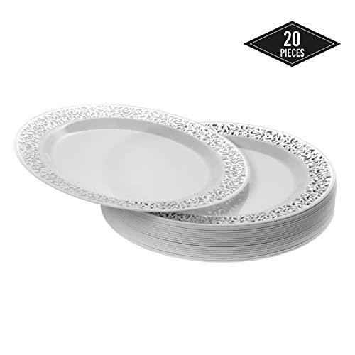 20 Premium Pequeños Platos Desechables de Plástico Duro con Elegante Borde de Encaje Plateado, Platos de Postre, 18cm  Durable y Reutilizable  Vajilla Blanca y Plateada  Bodas Fiestas Cumpleaños.