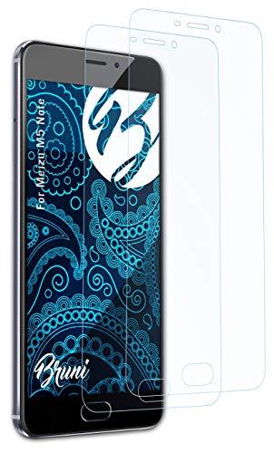 Bruni Schutzfolie kompatibel mit Meizu M5 Note Folie, glasklare Bildschirmschutzfolie (2X)