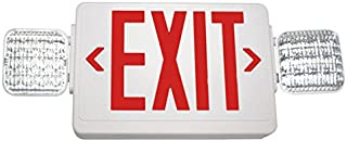 Double Face LED Combination Exit Sign - LED Lamp Heads - Self Testing - Red Letters - 90 Min. Operation - White - 120/277V VLED-U-WH-EL90-G2