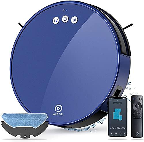 OKP Robot Aspirapolvere Lavapavimenti , Aspirazione Potenza 2000Pa Controllo APP & Alexa , Serbatoio Acqua Elettrico e Polvere 2-In-1 per Pulizia Domestica/Peli Animali/Capelli/Polvere/Lavapavimenti