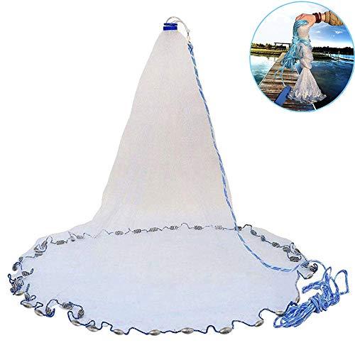 Booding Fischernetz, handgefertigt, Salzwasser, Wurfnetz, für Köderfalle, strapazierfähig Angelnetz