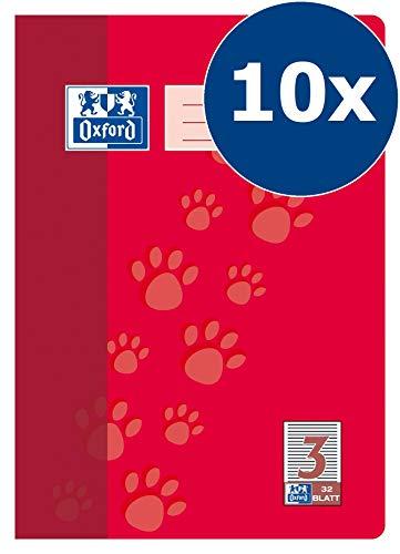 Oxford Schule Schulheft A4, Lineatur 3, 32 Blatt, rot mit Tatzen, 10er Pack