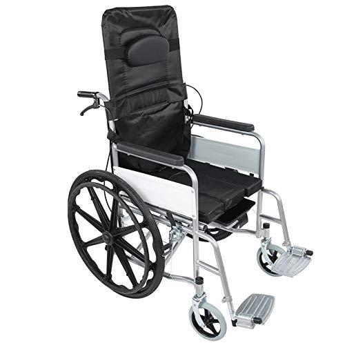 Klappbarer Rollstuhl Rollator Aluminium Set Leichtgewicht Reiserollator Rollstuhl Stockhalter Gehwagen Laufhilfe Gehhilfe Klappbare Fußstützen für Behinderte und ältere Menschen 119 x 95 x 67 cm