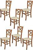t m c s Tommychairs - Set 6 sillas Cross para Cocina y Comedor, Estructura en Madera de Haya Color Cerezo y Asiento tapizado en Polipiel Color Marfil