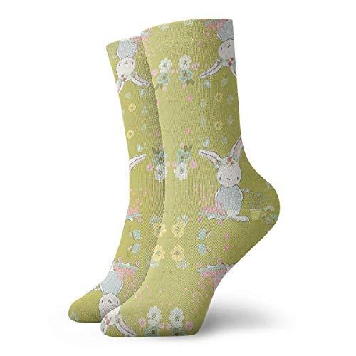 Socken Atmungsaktiv Klnsha7 Garten Bunny Gelb Crew Socken Exotisch Modern Damen &...
