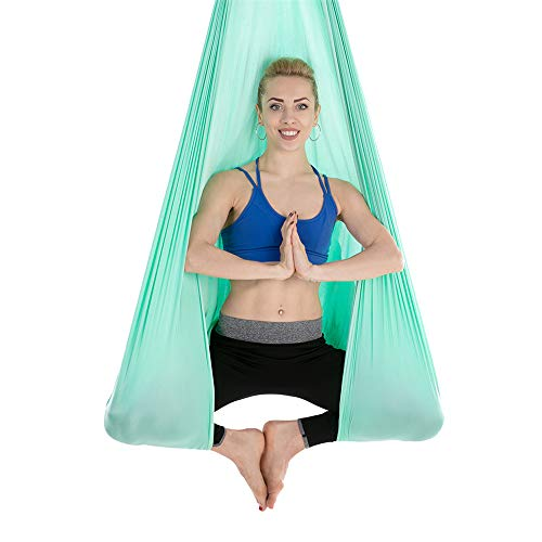 WDMSN Profession Aerial Yoga Hammock Silks Swing Antigravity Inversion Exercises With A Load Of 500 Kg Light Green Sling Motion Investing At Home Pilates Gymnastics - Fabric Only, No Accessories