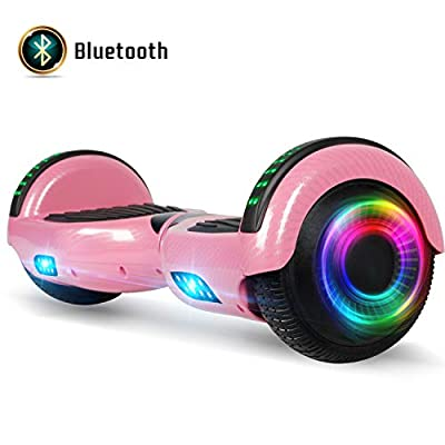 FLYING-ANT Hoverboard for Kids, 6.5 Inch Two Wheels Self Blancing Hoverboard with Bluetooth Speaker and LED Lights-Carbon Pink
