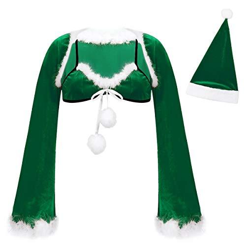 dPois Navidad Lencera ertica Sujetador con Chaqueta de Mujer Ropa Interior de Navidad Moda Sexy Ropa Interior Tentacin Underwear Verde M