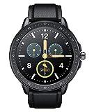 SANAG Smartwatch Herren, Leder Armbanduhr mit personalisiertem Bildschirm, IP68 Wasserdicht Sportuhr, Musiksteuerung, Fernfotografie Schlaferkennung Kalorien, Schrittzahl für iOS und Android Schwarz