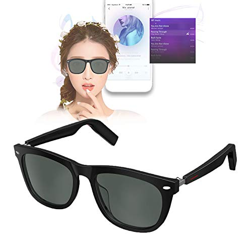 Gafas Bluetooth Inteligentes,Gafas de Sol para Llamadas de Voz y MúSica,Gafas de NavegacióN para Juegos con Audio Direccional Abierto,ProteccióN Impermeable y UV,Viajes,Deportes,Hombres Mujeres,Negro