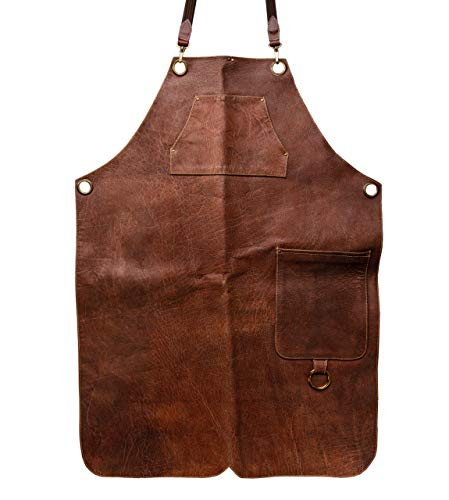 Angus Stoke Premium lederen schort - volledig lederen grillschort - one-cut vintage lederen schort - BBQ & keuken - Stan L/XL bruin