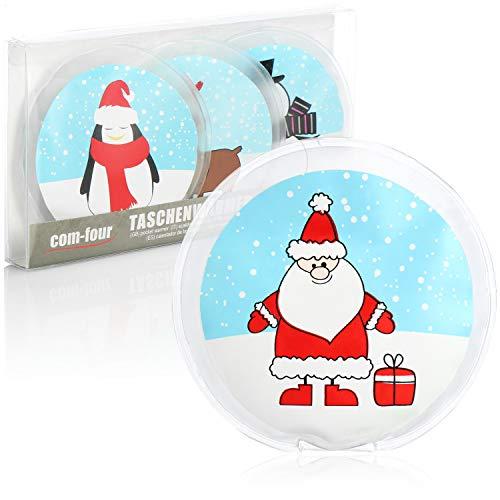 com-four® Calentador de Bolsillo 4X Reutilizable - Calentadores de Manos navideños para niños - Almohadilla térmica para los días fríos y para Llevar (Muñeco de Nieve/Papá Noel/pingüino/Alce)