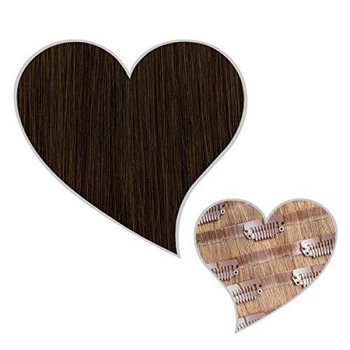 GLOBAL EXTEND® Clip in Extensions nahtlos asch-dunkelbraun#2B 50cm 190g Volume Seamless Clips aus 100% Echthaar Haarverlängerung nahtlose Haarclips Haarverdichtung Real Human Hair