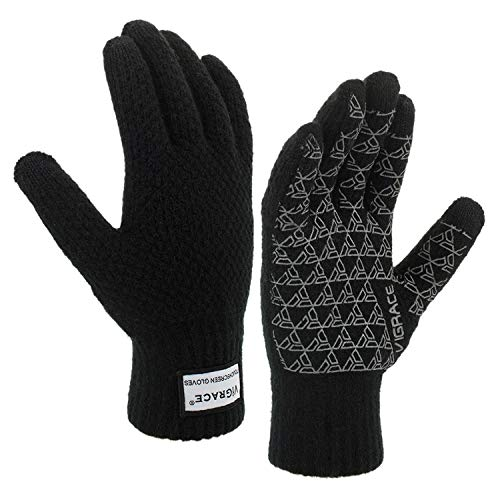 ViGrace Winter Warm Touchscreen Gloves for Men and Women Touch Screen Fleece Lined Knit Anti-Slip Wool Glove