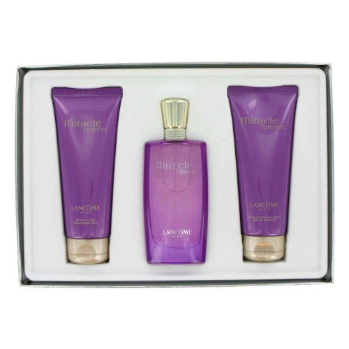 Miracle Forever by Lancome Gift Set -- 1.7 OZ Eau De Parfum Spray 3.4 oz Body Lotion 3.4 oz Shower Gel Women