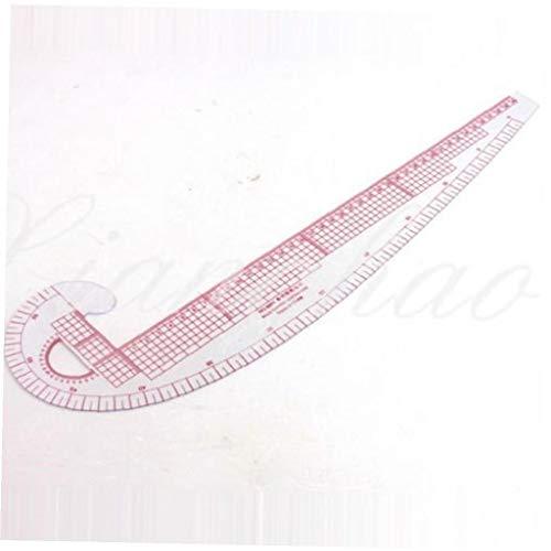 2 piezas de plástico 3 en 1 Curva francesa métrica de costura Regla Medida Para Confección a medida Regla clasificación...