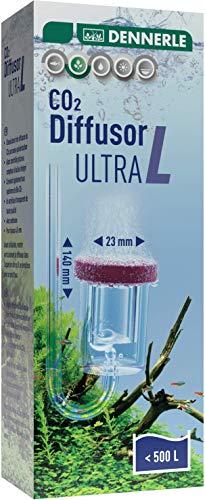 Dennerle CO2 Diffusor Ultra | für Süßwasser-Aquarien bis 400 Liter | aus Acrylglas - mit integriertem Blasenzähler | Membran aus Spezial Sintermaterial (Größe L - für Aquarien 400 Liter)
