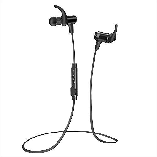 Bluetooth イヤホン VAVA MOOV 28 (aptX高音質 IPX6防水設計 8時間連続再生) 内蔵マグネット CVC6.0 ノイズキャンセニング マイク内蔵 VA-BH009 (ブラック)
