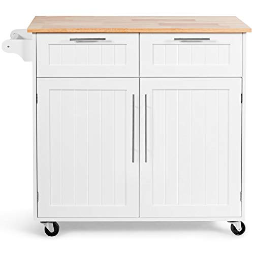 GLACER Kitchen Island on Wheels, Rolling Kitchen Island Cart with Rubber Wood Top, Side Handle, Large Drawers, 2-Door Cabinet for Kitchen and Dining Room, 37 x 18 x 37 inches (White)