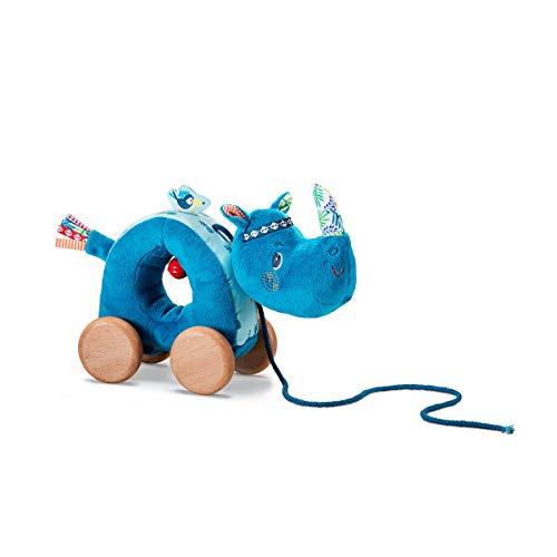 Lilliputiens 83059 Nachziehtier Nachziehspielzeug Marius, das Nashorn, Größe: 24x10x14cm, geeignet ab 12 Monaten