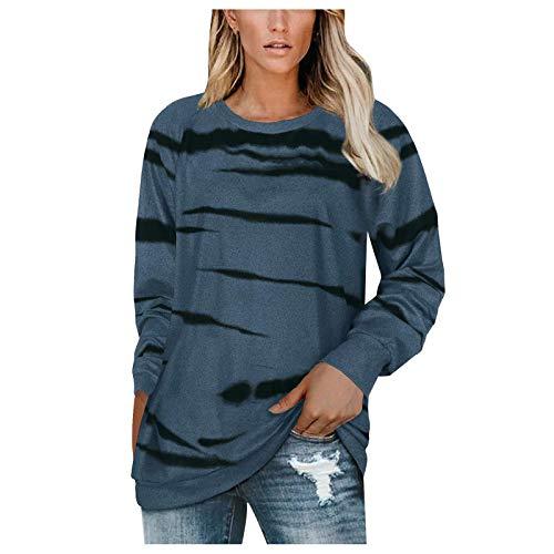 YSLMNOR Crewneck Tops Womens Long Sleeve Sweatshirts Casual Printed Pullover Tops Blue