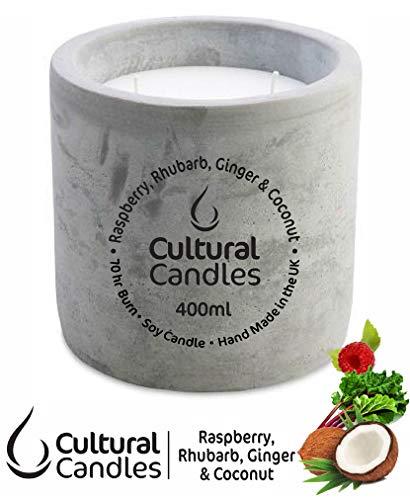Culturele Kaarsen Framboos, Rabarber, Gember & Kokosnoot 400 ml 100% Vegan Soja Kaars