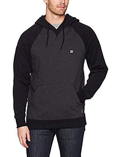 Billabong Young Men's Classic Pull Over Fleece Sweatshirt Hoody, black heather, L