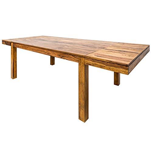 Invicta Interior Massiver Esstisch Lagos 160-240cm mit Ansteckplatten Sheesham Stone Finish Tisch Konferenztisch Holztisch