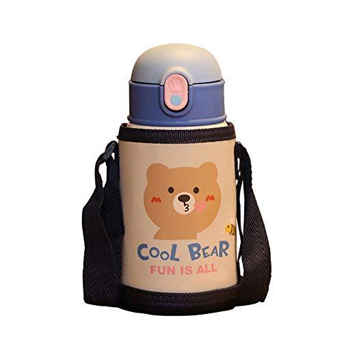 水筒 魔法瓶 ストローボトル子供 キッズボトル ステンレスボトル 漏れない 水筒子供 魔法瓶子供 おしゃれ 真空断熱保温保冷 ステンレス製 携帯式 ショルダーストラップ付き 水筒ケース クマ