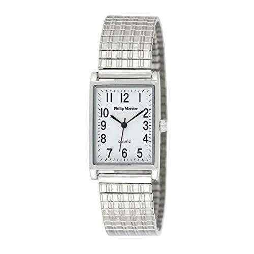 Philip Mercier mujeres/señoras blanco esfera rectangular plateado metal expansor pulsera correa reloj PML06A
