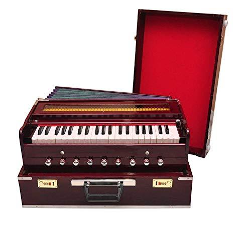 Best Harmonium 9 Stopper (tragbar), Chudidaar Faltenbalg, 42 Tasten, zwei Rohrblätter (Bass-Stecker), 3 1/2 Oktave, Kapler, Harmonium mit Abdeckung