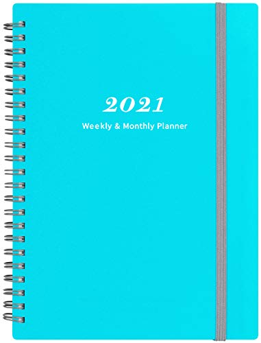 2021 Planner - 2021 Weekly & Monthly Planner with Tabs, 6.25' x 8.3', Elastic Closure and Thick Paper, Back Pocket with 21 Notes Pages