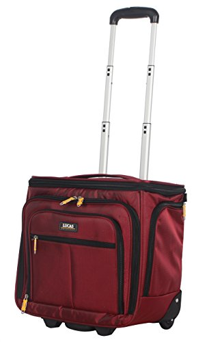 Lucas Convertible Under Seat Carry on Luggage - Expandable 15 Inch Weekender Overnight Business Travel Suitcase - Lightweight 2- Rolling Spinner Wheels Bag (Red)