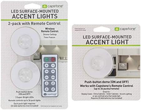 Capstone Wireless LED Surface Mounted Accent Lights Push Button Dome w Adhesive Tape Remote product image