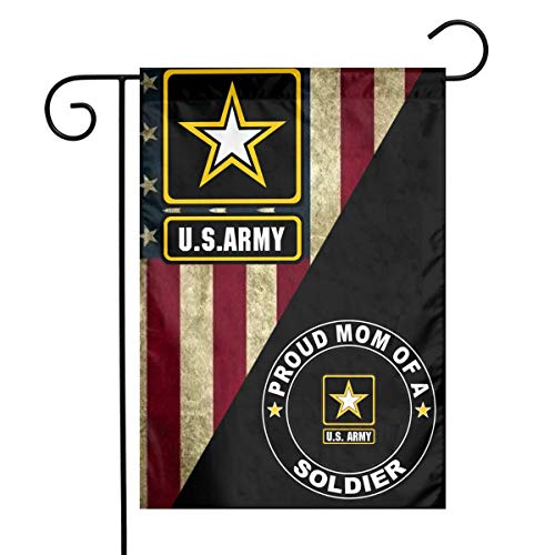 US MILITARY U.S. Army Proud Mom of A Soldier Flag Armed Forces Double-Sided Lawn Decoration Gift House Garden Yard Banner United State American Military Veteran, 12' x 18.5 Made in USA