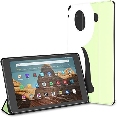 Kindle Hülle Pu Leder Smart Cover Nette Cartoon Riesen Panda Tablet Covers Für Feuer HD 10 Kindle Feuer HD 10 Zoll Tablet Hülle (9. Generation 2019/7. Generation 2017) mit Auto Wake/Schlaf