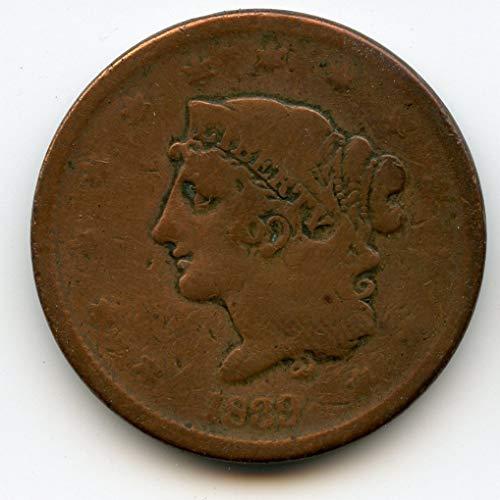 1839 Coronet Hair Large Booby Head Cent G-06