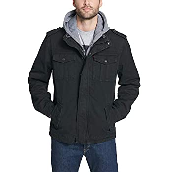 Levi s Men s Washed Cotton Military Jacket with Removable Hood  Standard and Big & Tall  Black Medium
