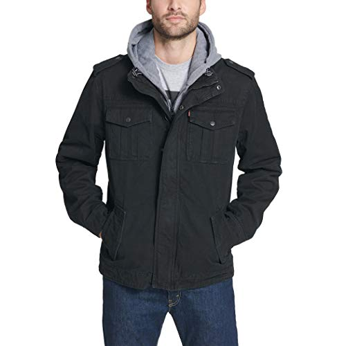 Levi's Men's Washed Cotton Military Jacket with Removable Hood (Standard and Big & Tall), Black, XX-Large