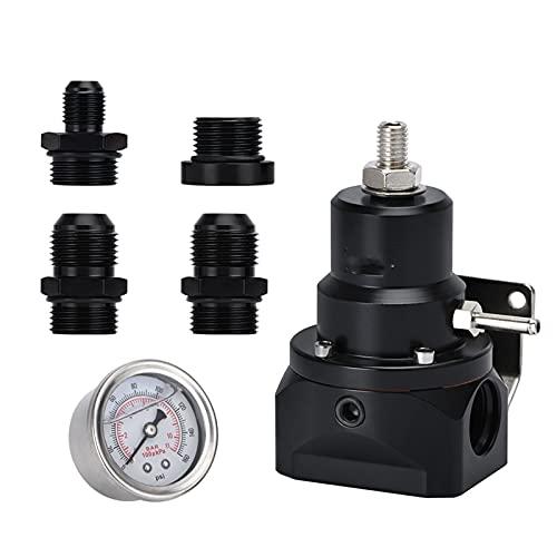 MINGYUYUYY AN10 EFI Regulador de presión de Combustible (indicador 0-160PSI) -1 0AN 10/10/6 Puertos de Entrada y devolución adecuados para BMW E30 M20 6cy con Pegatina (Color : Black)