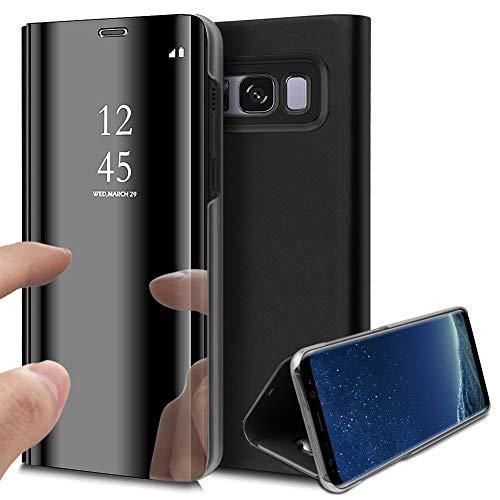 Jinghuash hoes compatibel met Galaxy S8 spiegel, telefoonhoes PU-leer. spiegel, zwart.