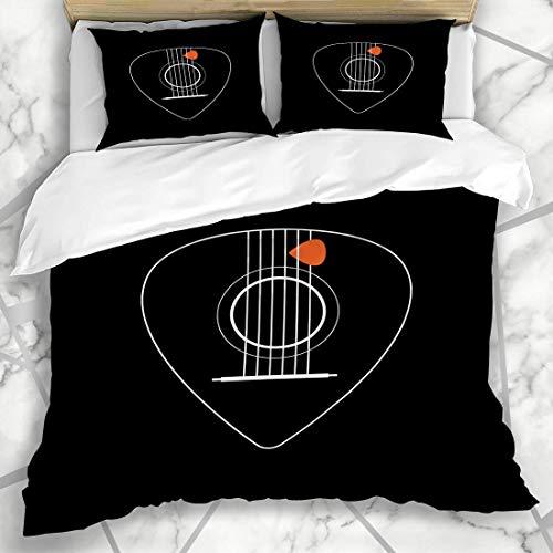 HARXISE Bettwäsche - Bettwäscheset Piktogramm-Land-kreative entworfene Flache akustische Knopf-Gitarren-Musik-Auswahl-grafische einfache Zusammenfassung Mikrofaser weich dreiteilig200*200