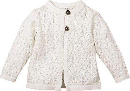 lupilu® Baby Mädchen Strickjacke aus 100% Bio-Baumwolle (wollweiß Ajourstrick-Muster, Gr. 74/80)